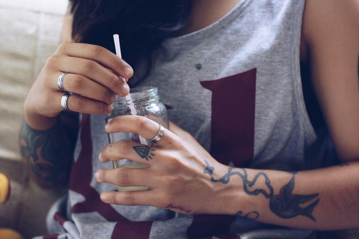 Tatuaż obrączka - diament
