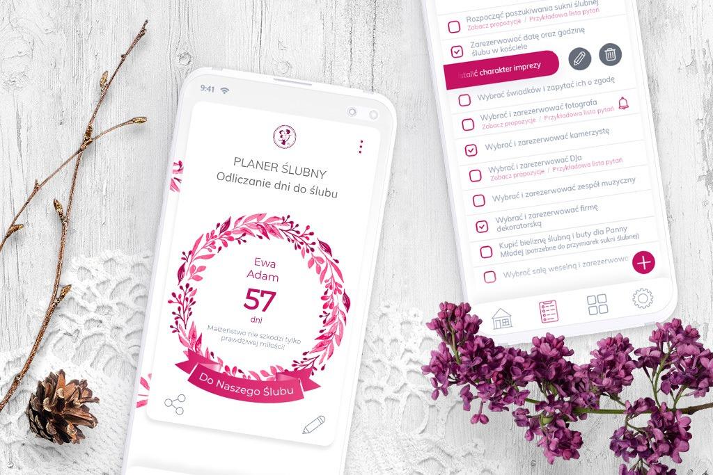 planer ślubny odliczanie dni do ślubu na telefonie