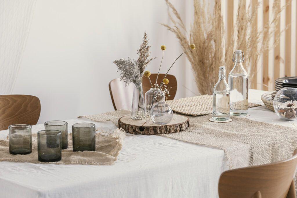 eko wesele - dekoracja stołu