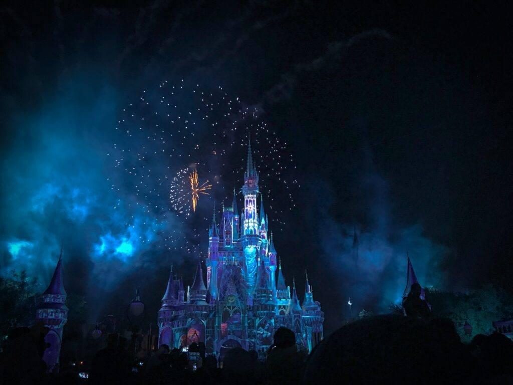 zamek w Disneylandzie nocą