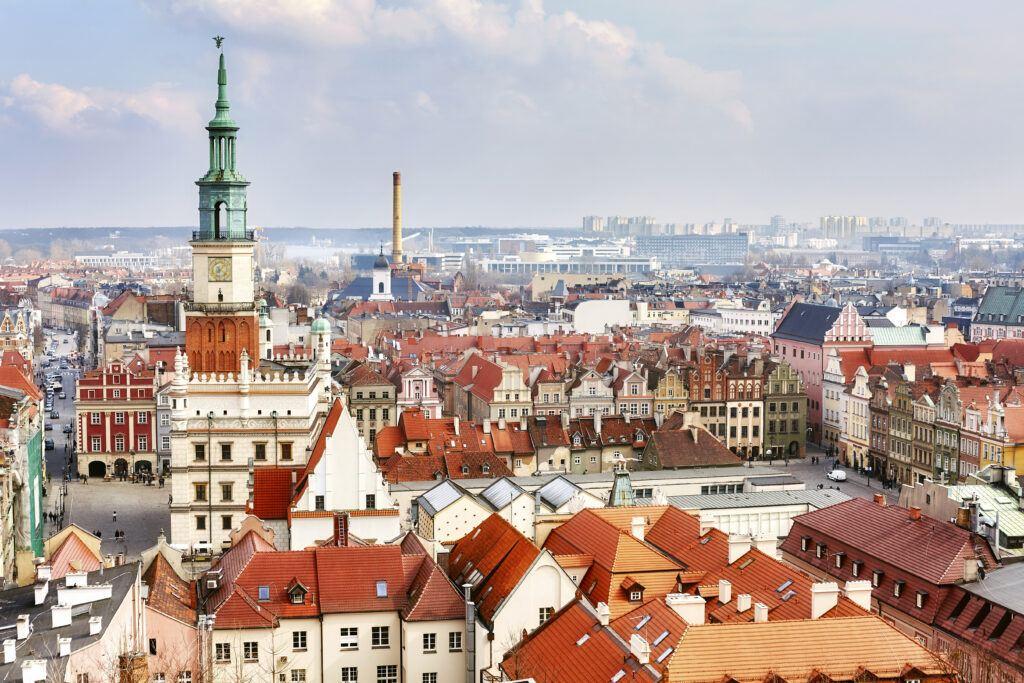 Widok na panoramę Poznania